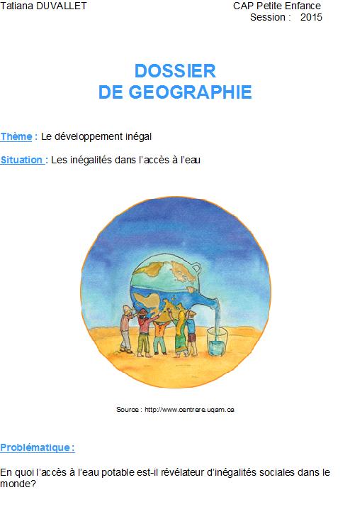 exemple dossier histoire geographie cap petite enfance